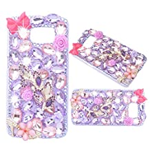 Evtech(tm) Purple Crystal Diamond Decoration Bowknot Flowers Rhinestone Bling Hard Case Phone Cover for Samsung Galaxy Note 5