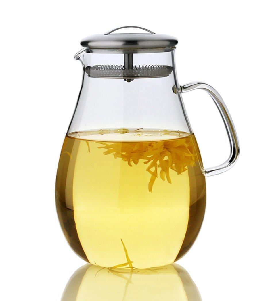 Glaskanne Karaffe Wasserkaraffe 1.5L Wasserkrug aus Hitzebest/ändigem Borosilikatglas mit Deckel aus Edelstahl
