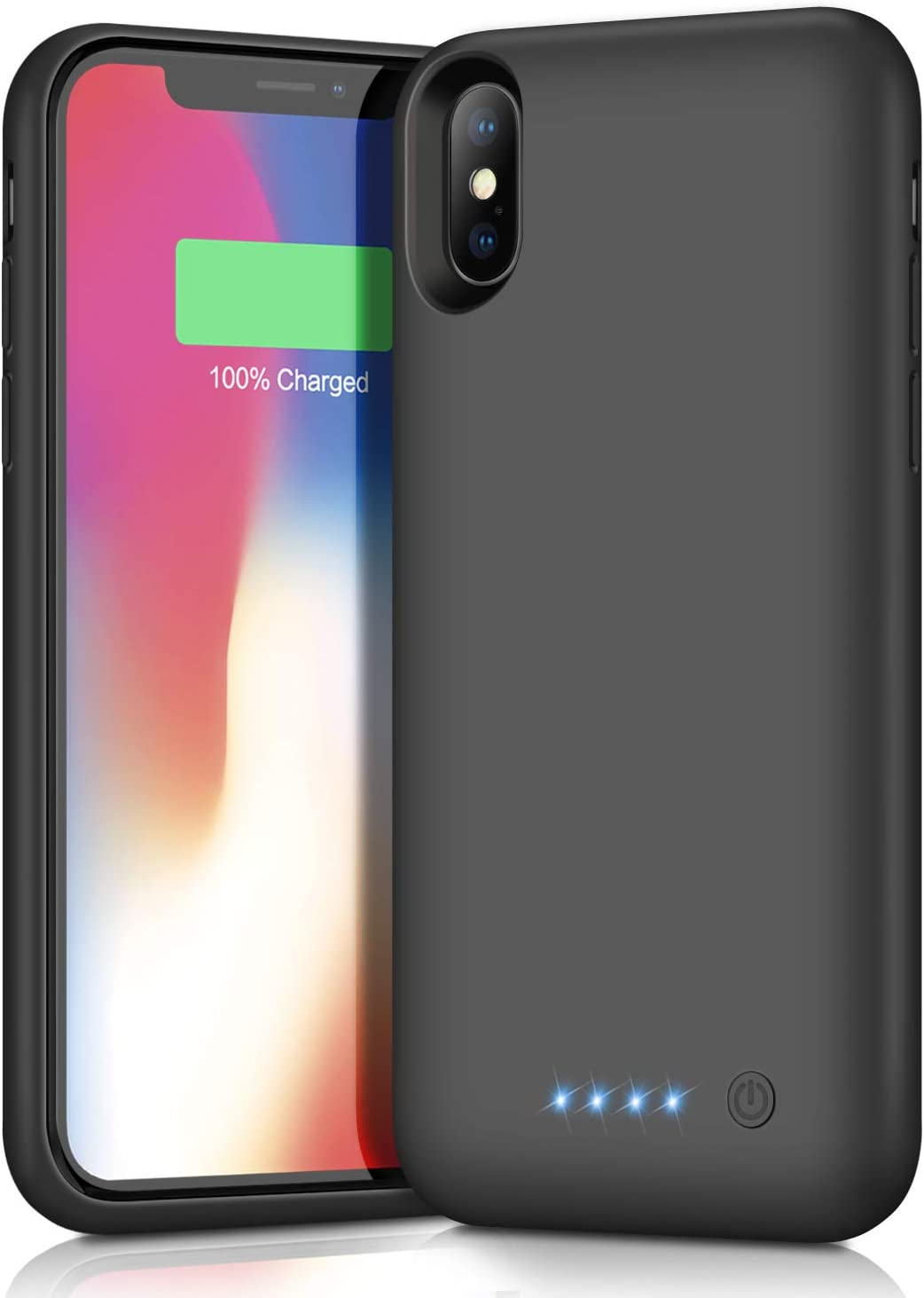 Amazon Com Battery Case For Iphone Xs X 10 Upgrade 6500mah Portable Charging Case For Iphone Xs X 10 Rechargeable External Battery Pack Extended Battery Protective Charger Case 5 8 Inch Black