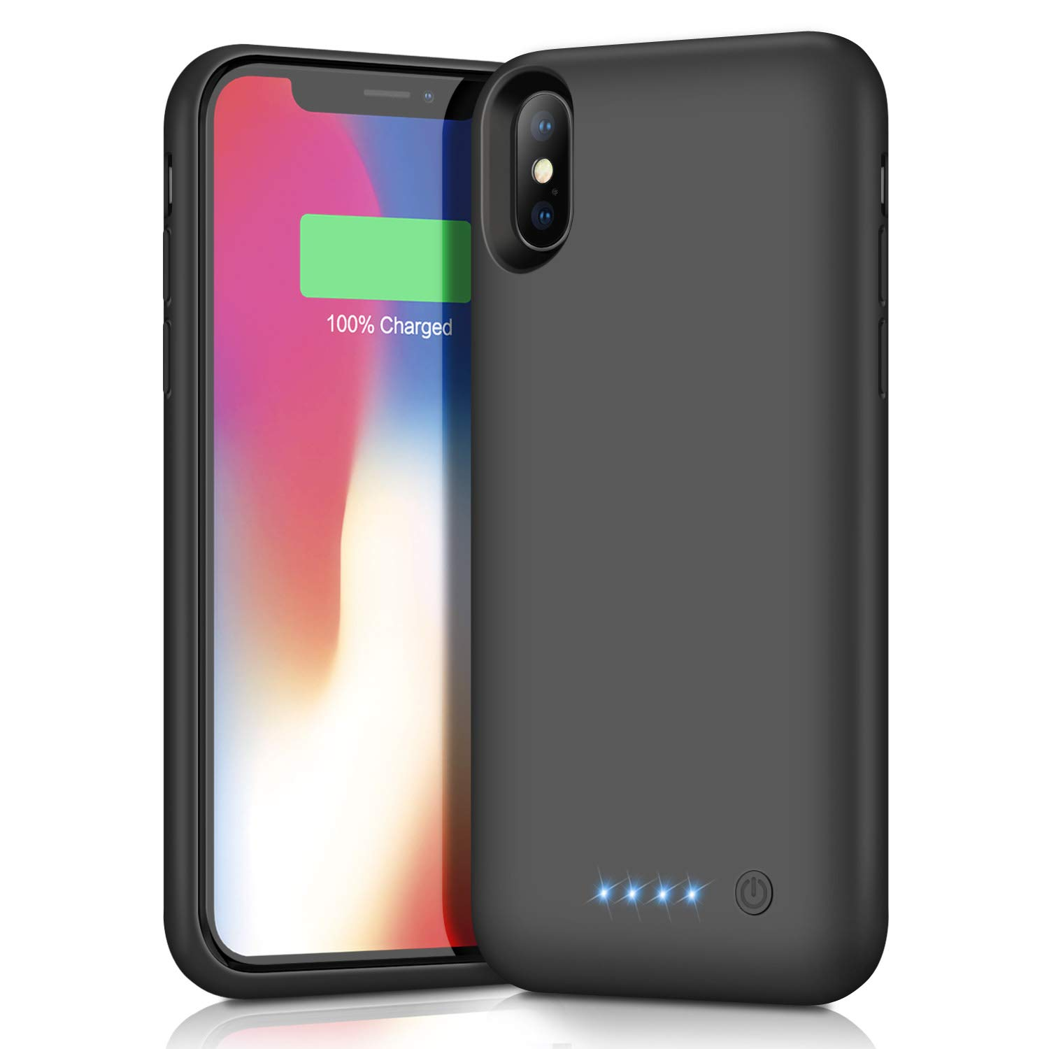 Trswyop Battery Case for iPhone XS/X/10,6500mAh Portable Rechargeable Charging Case External Battery Pack for Apple iPhone XS/X/10 Protective Charger Case Backup Battery Power Bank (5.8 inch) (Black)