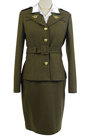 1940s Tea Dresses, Mature, Mrs. Long Sleeve Dresses Sidnor Womens Officer Margaret/Peggy Carter Dress Cosplay Costume Uniform Suit $135.00 AT vintagedancer.com