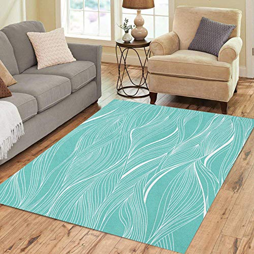 Semtomn Area Rug 5' X 7' Blue Breeze Abstract Pattern Waves Water Ocean Sea Tide Home Decor Collection Floor Rugs Carpet for Living Room Bedroom Dining - Sea Rug Breeze Tiles