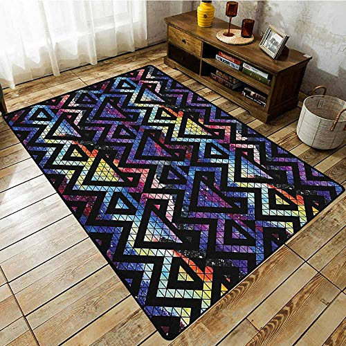 Bedroom Rug,Geometric,Galaxy Themed Background with Geometrical Shapes Triangles and Lines Lace Pattern,with No-Slip Backing Multicolor All Lace Triangle Slip