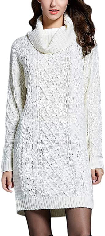 Mini Robe,Pull Tricot Femmes Casual Col Haut Manches Longues
