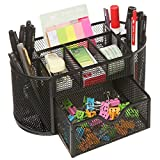 MyGift Space Saving Black Metal Wire Mesh 8 Compartment Office / School Supply Desktop Organizer Caddy w/ Drawer