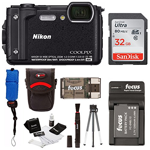 Nikon Coolpix W300 Digital Camera (Black) with 32GB SD Card & Accessory Bundle