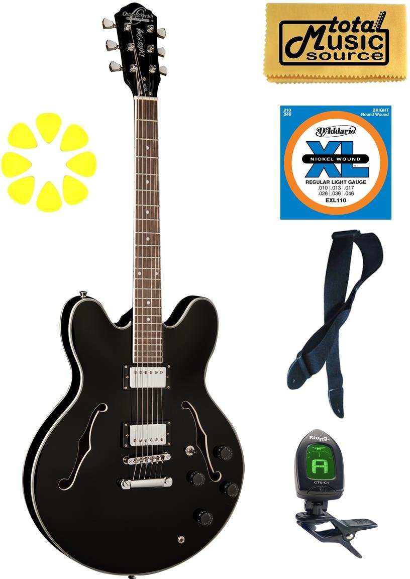 Oscar Schmidt Delta King Electric Guitar, Black, OE30B CP STRAP PICKS GIGBAG by Oscar Schmidt (Image #1)