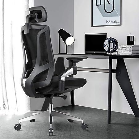 ANGEL QUEEN Chaise de Bureau Ergonomique Chaise de Bureau en Filet à Dossier Haut avec accoudoirs réglables 4D Chaise d'ordinateur réglable en Hauteur