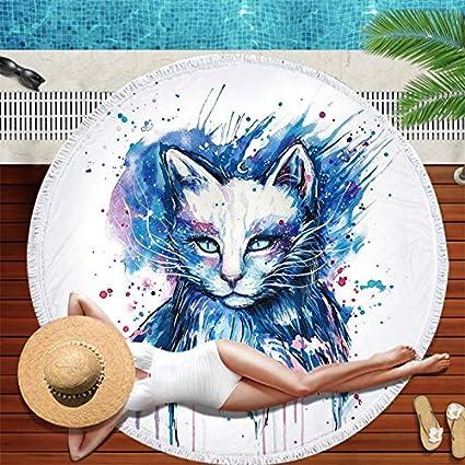 Amazon.com: WLEZY Beach Towel Printed Owl Beach Towel Round ...