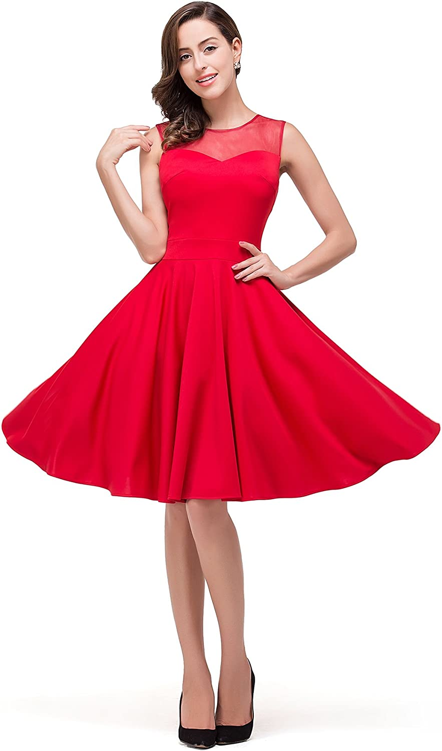 MisShow Womens Sleeveless Pleated Little Cocktail Party Swing Dress