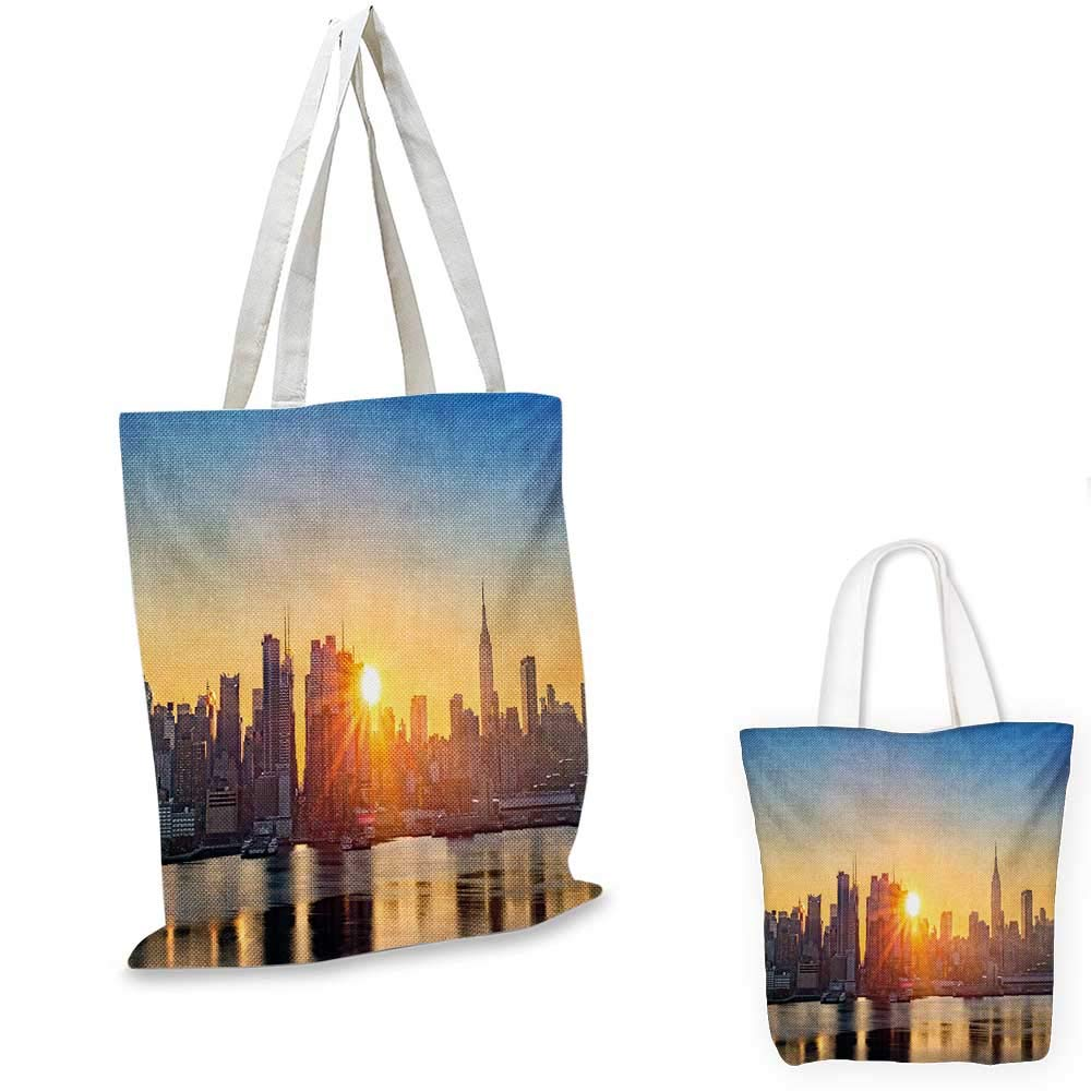 City canvas messenger bag Spacecraft in Formation Futuristic Alien City on Water Huge Planet in the Backdrop canvas beach bag Peach Tan Blue 12x15-10