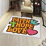 Hope Customize Floor mats for home Mat Grunge Faith Hope Love Quote with Religious Symbols Cartoon Style Vintage Letters Oriental Floor and Carpets 36''x48'' Multicolor
