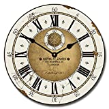 Hotel St. James Wall Clock, Available in 8 sizes, Most Sizes Ship 2 - 3 days, Whisper Quiet.