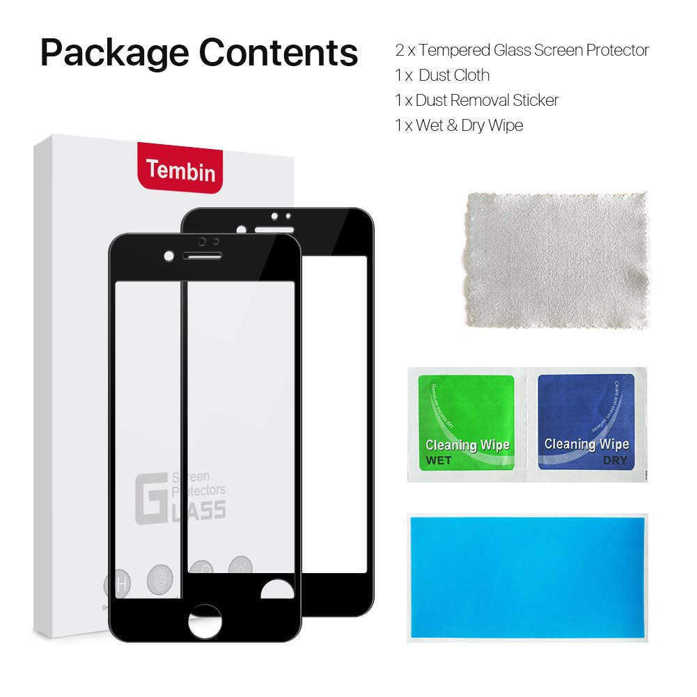 Tembin Tempered Glass Screen Protector,3D Nanometer Screen Guard,Full Coverage Edge to Edge Protection,Ultra-clean High Definition Film Anti Fingerprint Anti Glare for iPhone 7 8 Plus Black (2 Pack)