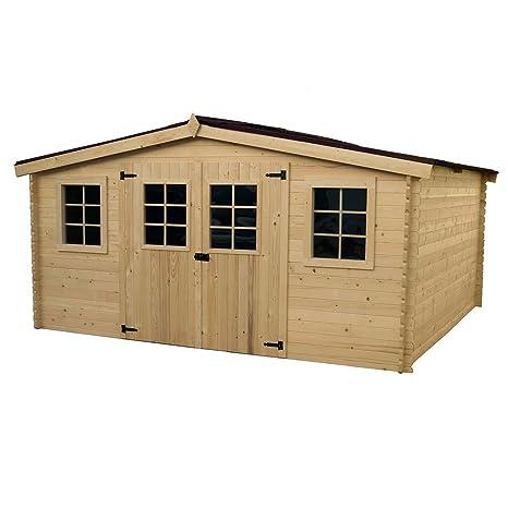 Caseta de madera de abeto con tablas de 28 mm, 4 x 3 m,