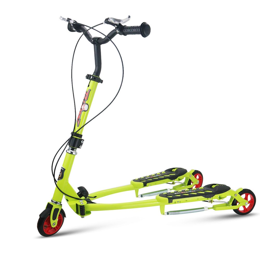 FTM Scooter De 3 Ruedas Plegable Scooter Plegable para Niños Ajustable En Altura para Niños Y Niñas De 2 A 6 Años (Color : Green)