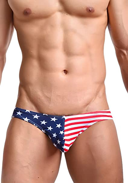 EUROUS hombre Sexy algodón la bandera americana patrón Slip ropa interior