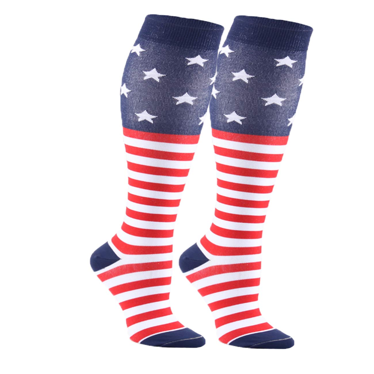 Compression Colorful Stars Stripes Socks Women Men Students High Performance (American flag/2 Pairs) by MOAIR