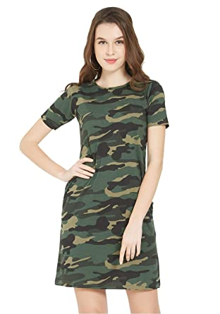 4964d78b4746e Wear Your Opinion Women's Cotton Casual Dress Military Army Print T-Shirt  (Green Camo