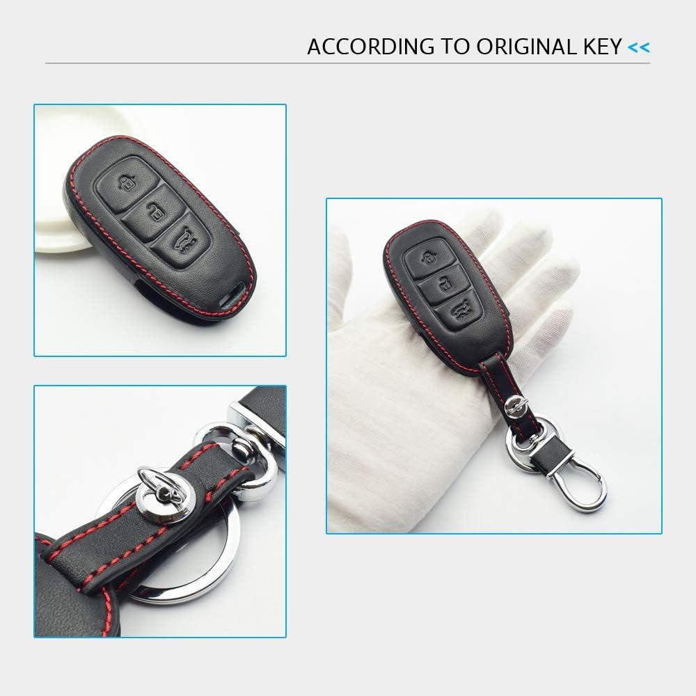 Unknow Funda de Cuero para Llave de Coche para Hyundai Santa Fe TM 2019 I30 2018 Solaris Azera Elantra Grandeur Accent Keychain Holder Protector Cover