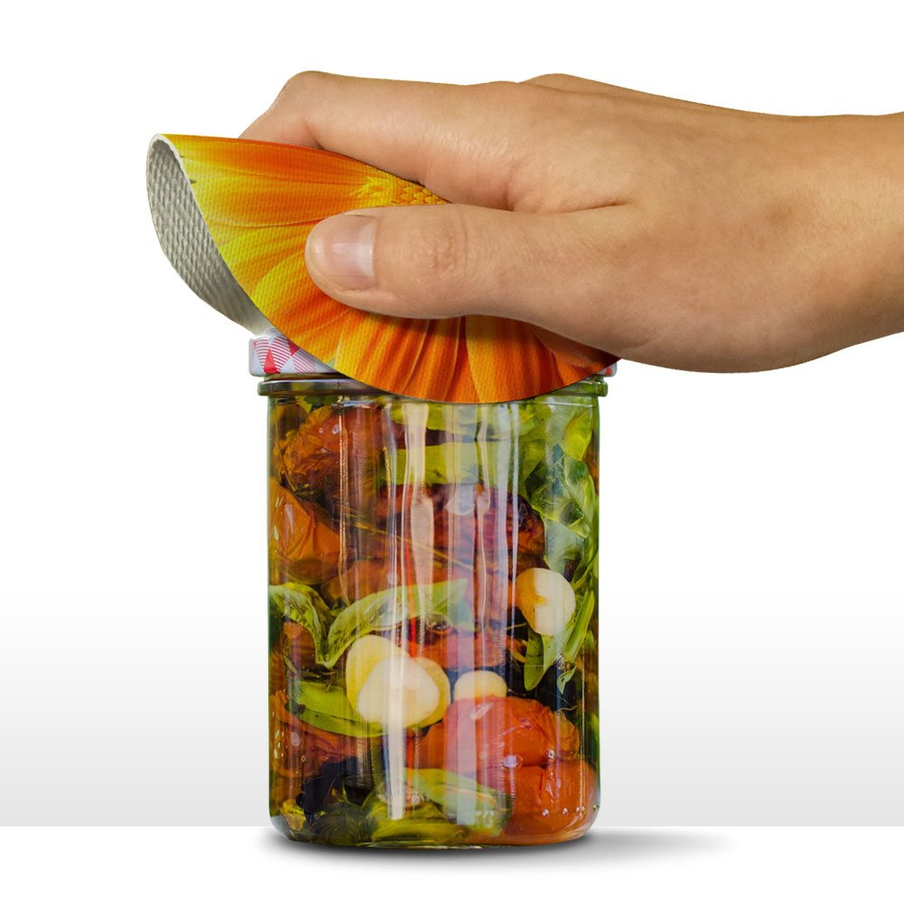 Orange Gerbera Daisy Round Rubber Non-Slip Jar Gripper Lid Opener