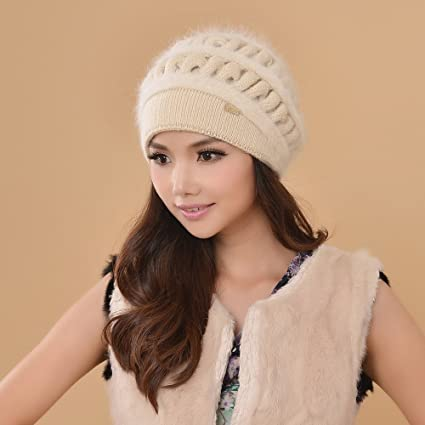 BTBTAV Sombrero de invierno señoras de mediana edad sombreros tejidos de  lana de lana gruesa 8781af155a2d
