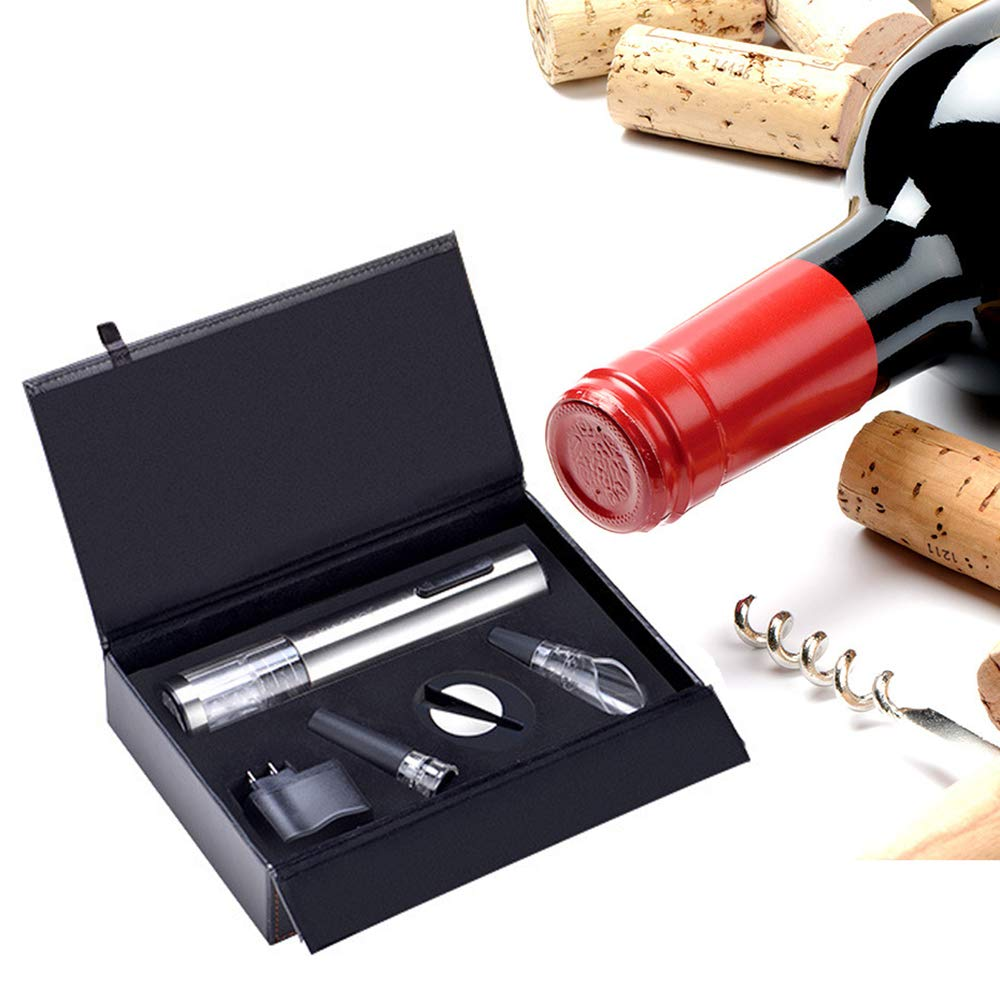 ZYG.GG Electric Bottle Opener, Rechargeable Wine Opener, Professional Electric Corkscrew Wine Accessories with Foil Cutter, Vacuum Stopper, Pourer and USB Charger Cable, Stainless Steel by ZYG.GG (Image #6)