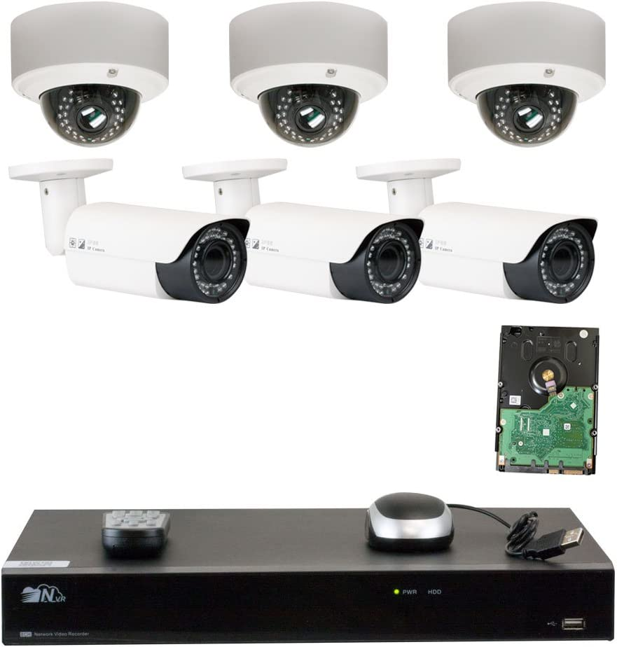GW Security 8 Channel H.265 4K NVR 5-Megapixel 2592 x 1520 4X Optical Zoom Network Plug Play Security System, 6pcs 5MP 1920p 2.8-12mm Motorized Zoom POE Weatherproof Bullet Dome IP Cameras