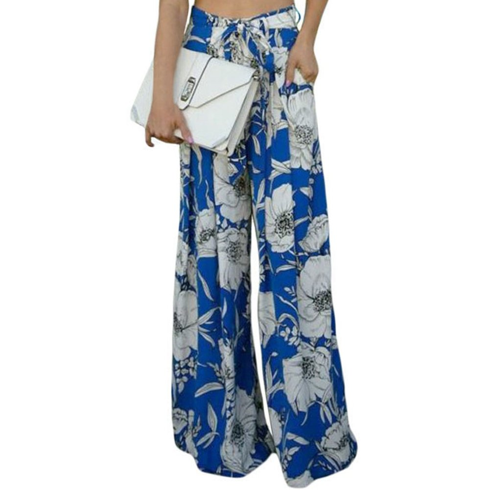 LOSRLY Women Floral Print High Waist Belt Palazzo Wide Leg Boho Pants Plus Size YL72015