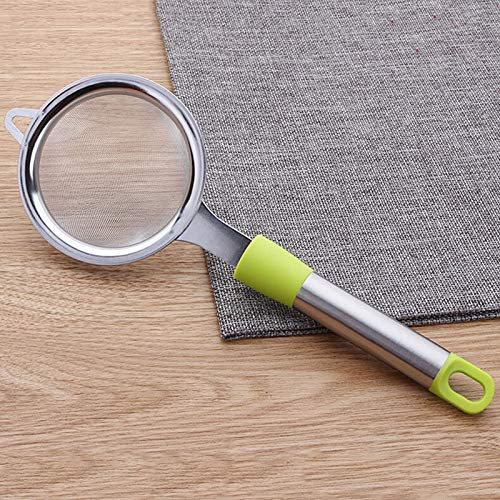 DHmart Stainless Steel +PP Handle Hand-held Flour Sieve Kitchen Gadget Filter Oil Grid ()