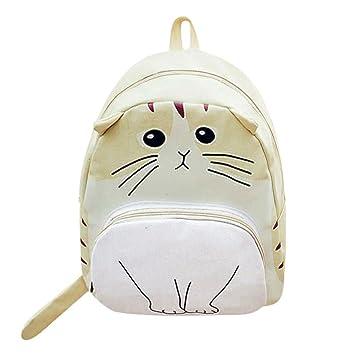 OneMoreT Mochila de lona con impresión de gato para mujer ...