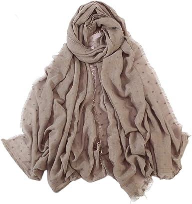 Chou Hijab Musulman - Bufanda de lino y algodón para mujer, diseño de chal café 90 * 180 cm: Amazon.es: Ropa y accesorios