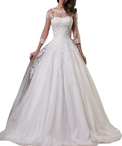 ShineGown Wedding Dresses Bride Women Long Lace Ball Gown Sweep 2018: Amazon.co.uk: Clothing