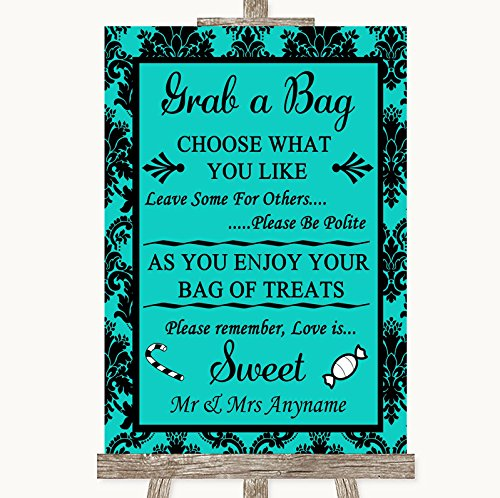 Turquoise Damask Grab A Bag Candy Buffet Cart Sweets Personalized Wedding Sign