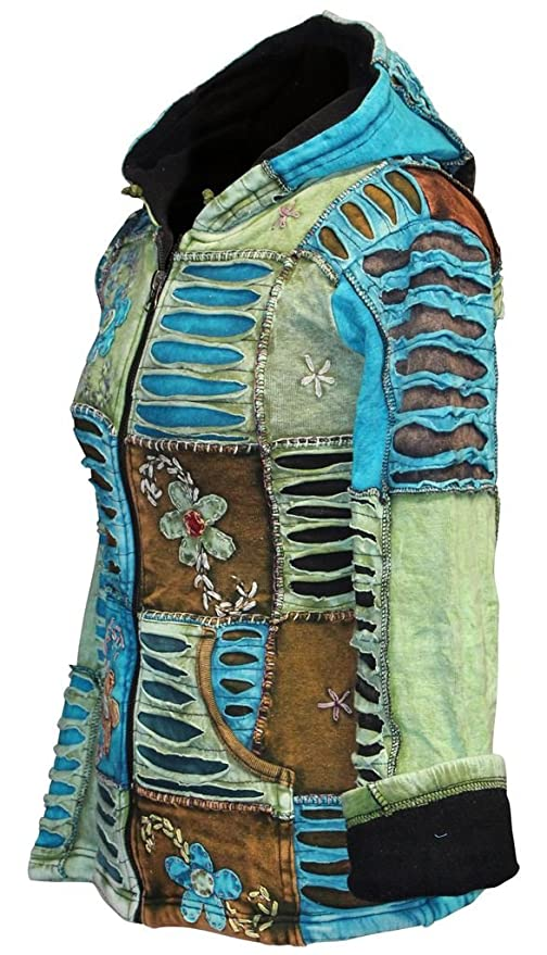 Shopoholic FashionWomen Flower Embroidered Fleece Lined Hippy Hoodie Jacket