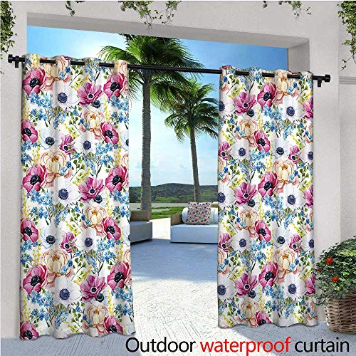 cobeDecor Watercolor Patio Curtains Vintage Colorful Anemone and Forget Me Not Flowers Romantic Mimosa Peony Art Outdoor Curtain for Patio,Outdoor Patio Curtains W72 x L84 Multicolor