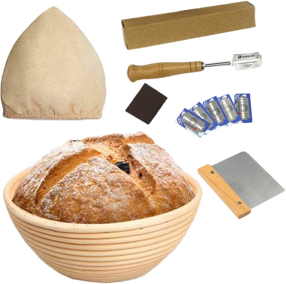 """10"""" Bread Banneton Proofing Basket for Sourdough Round Baking Bowl Dough Gifts for Bakers 4Pcs with Bread Lame,Dough Scraper,Linen Liner Cloth"""