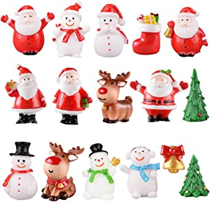 Kapmore 16PCS Christmas Figurines Miniatures Ornaments Kit Christmas Micro Landscape Mini Ornaments Kits for DIY Fairy Garden Dollhouse Decoration Desktop Christmas Decoration Accessories