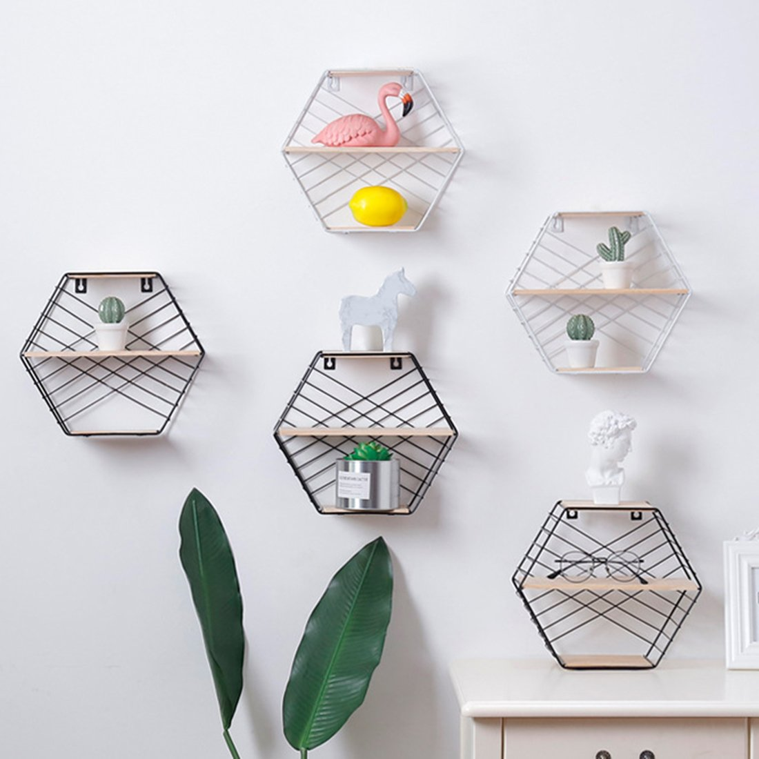 HMANE 3-Tier Wall Storage Rack,Decorative Hanging Hexagon Shelf Organizer for Kitchen,Bathroom,Office - Black by HMANE (Image #5)