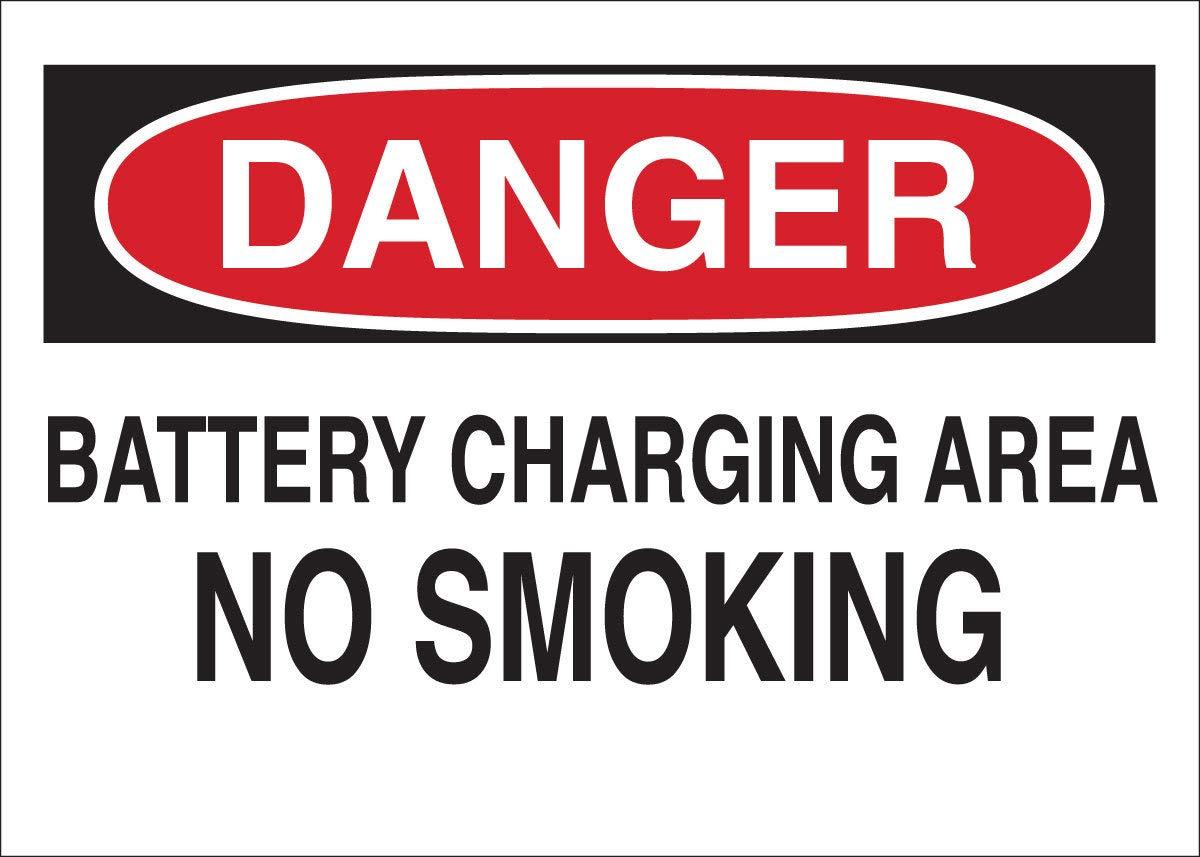 Brady 10'' X 14'' X .06'' Black/Red On White .0591'' B-401 Polystyrene No Smoking Sign''BATTERY CHARGING AREA NO SMOKING''