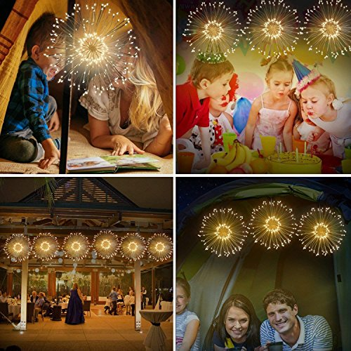 LED Firework Fairy Lights, Seenlast Hanging Starburst Lights, Battery Operated String Lights with Remote Control for Christmas Wedding Party Indoor Outdoor Decoration(2 Pack 8 Modes, Warm White)