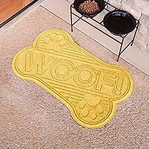 Aqua Shield Die Cut Dog Bone Mat, 2 by 3-Feet, Yellow