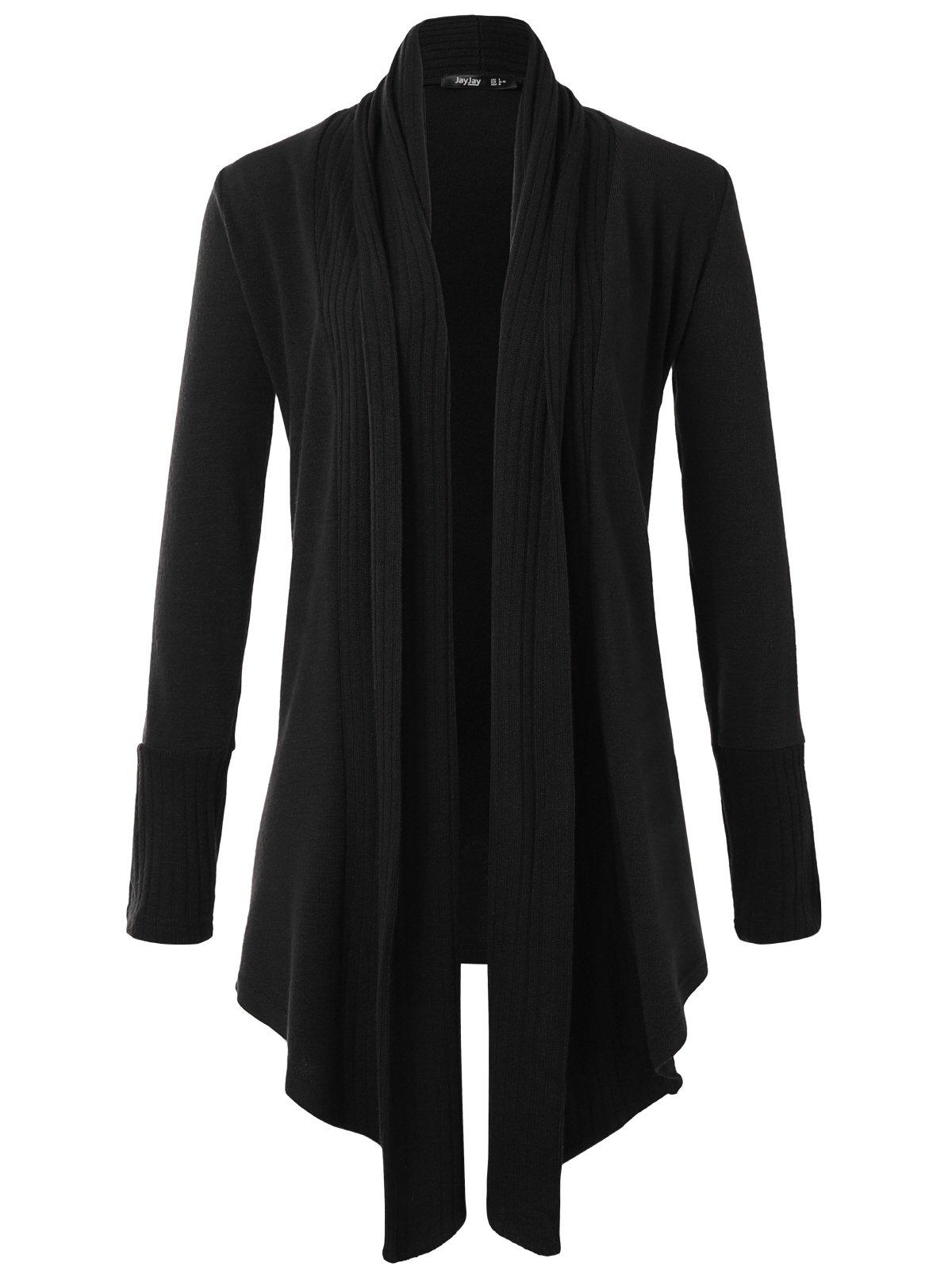 JayJay Women Boyfreind Loose Fit Long Sleeve Open Shawl Long Sweater Cardigan,Black,2XL