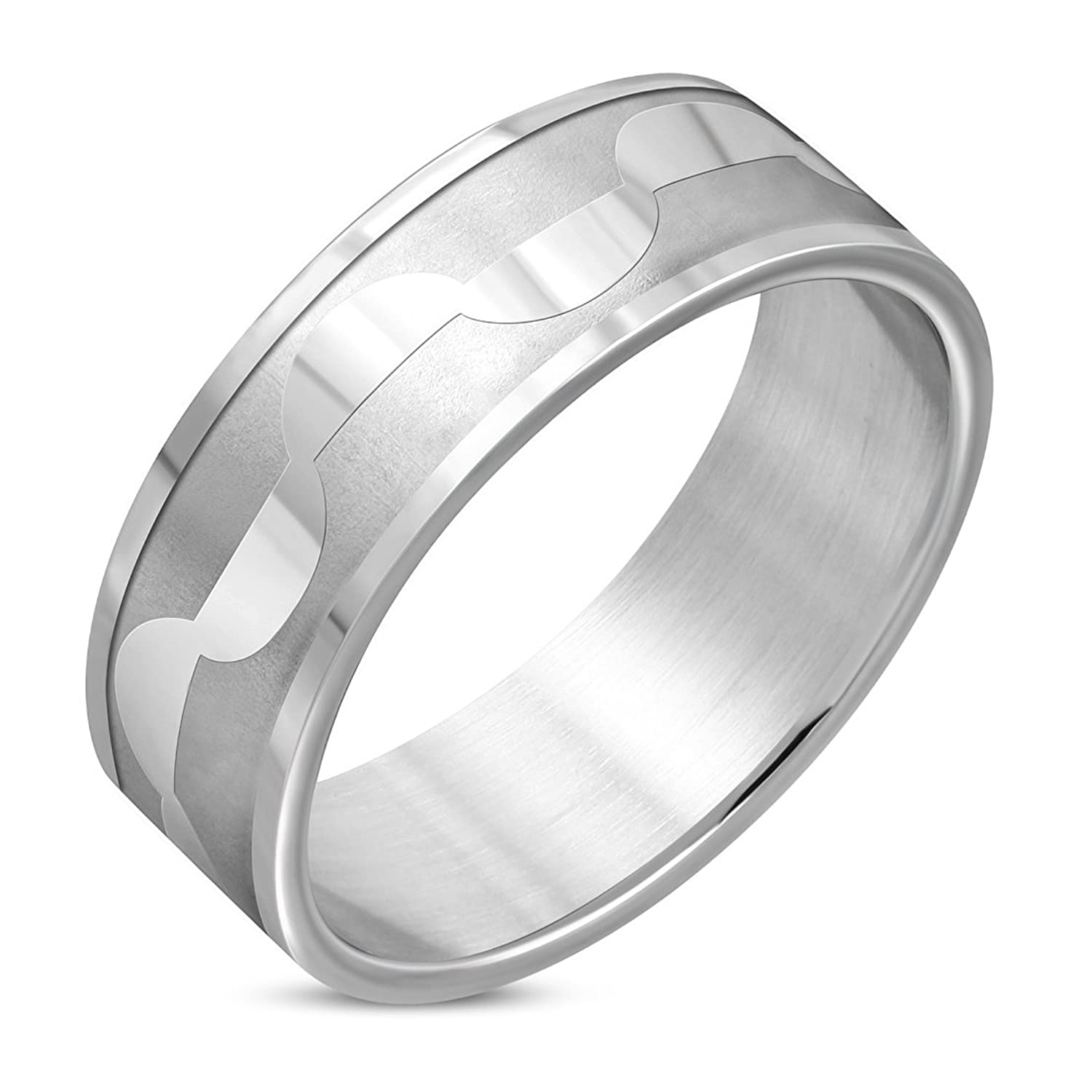 Stainless Steel Matte Finished Half-Circle Link Flat Band Ring