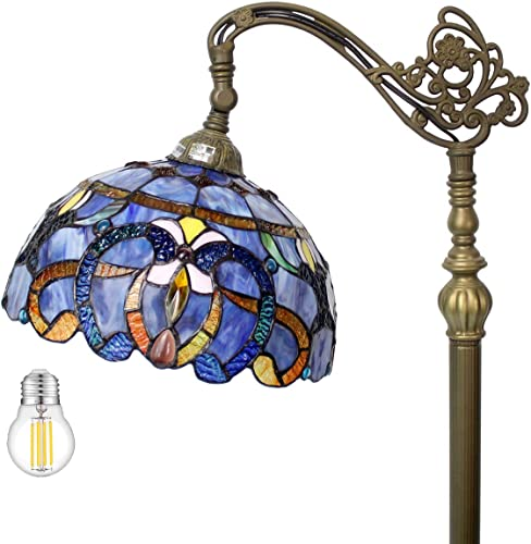 Tiffany Style Floor Lamp Reading Lighting W12H64 Inch LED Bulb Included Blue Purple Clouldy Stained Glass Crystal Lampshade Antique Adjustable Arched Base S558 WERFACTORY Lamps Bedroom Living Room