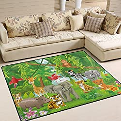 Naanle Cute Area Rug 5'x7', Jungle Animals Tiger Lion Elephant Giraffe Zebra Polyester Area Rug Mat for Living Dining Dorm Room Bedroom Home Decorative