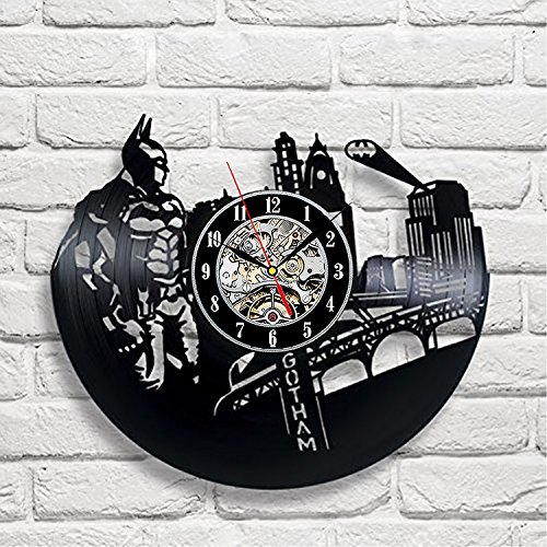 Vintage Batman Vinyl Record Designer Wall Clock - Decorate your home with Modern DC Comics Superheroes Art - Best gift for man, woman, boyfriend and girlfriend - Win a prize for (Best Female Superhero)