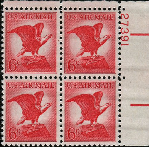 American Bald Eagle ~ AIR Mail #C67 Plate Block of 4 x 6¢ US Postage - Us Stamps Postage Mail Air