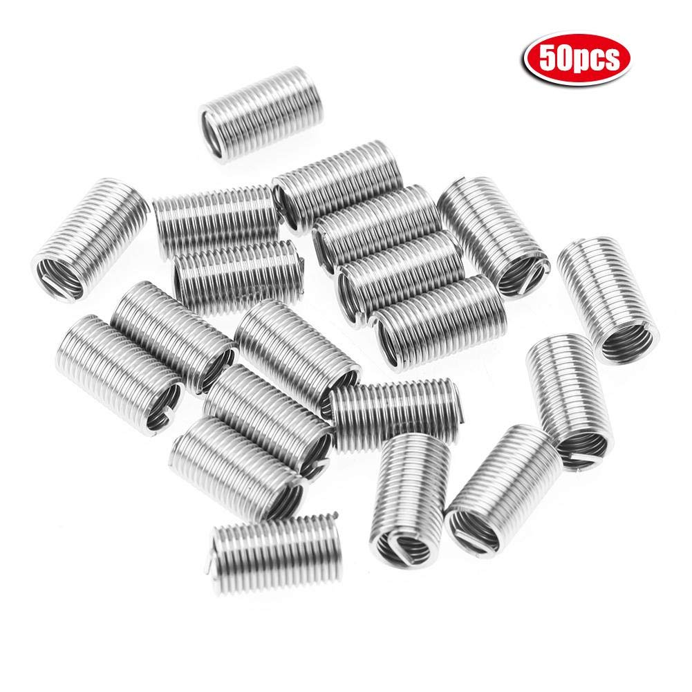50Pcs Thread Inserts M10 Stainless Steel 304 Coiled Wire Helical Type Thread Repair Inserts Set Replacement for Furniture and Auto Repairing (M10×1.5×2.5 D) by Wal front