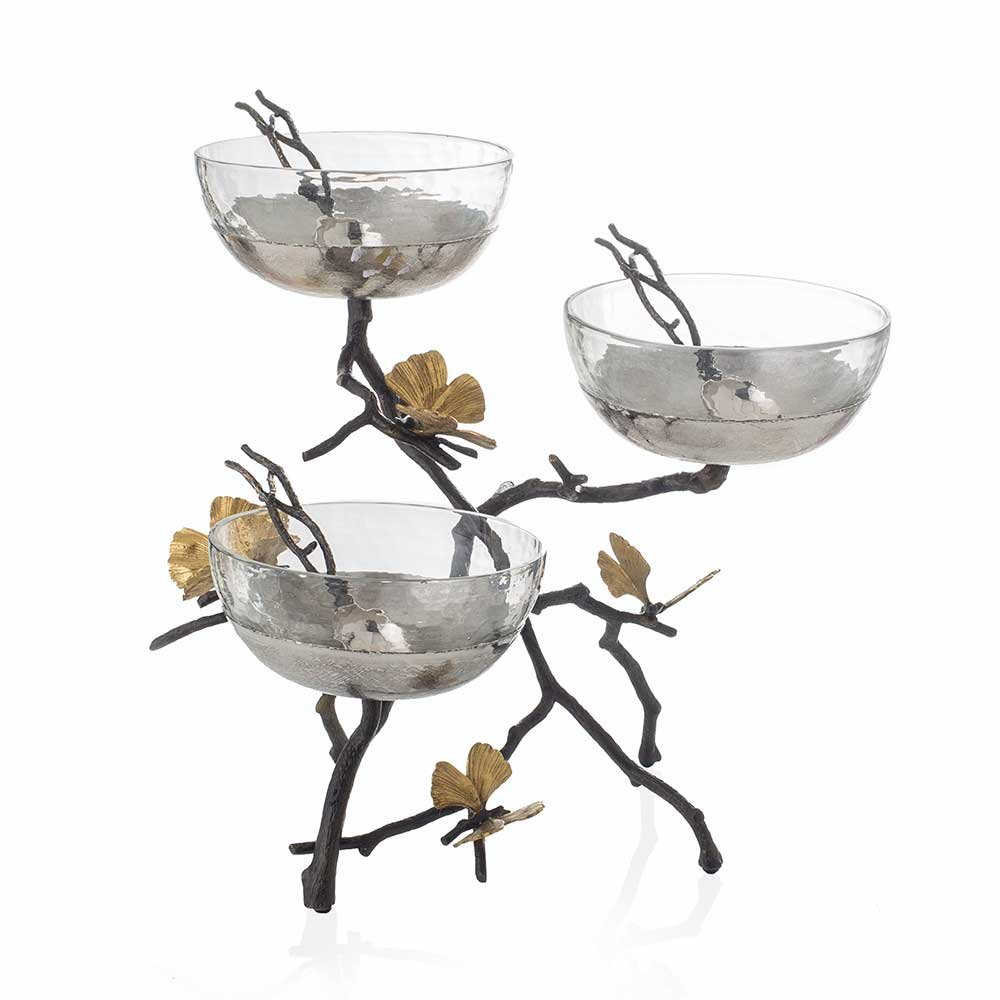Michael Aram Butterfly Ginkgo Triple Bowl Set with Spoons (3 bowls on a wrought iron stand)